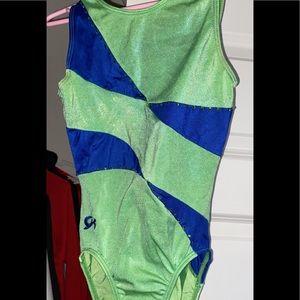 Green blue and rhinestones gymnastics leotard
